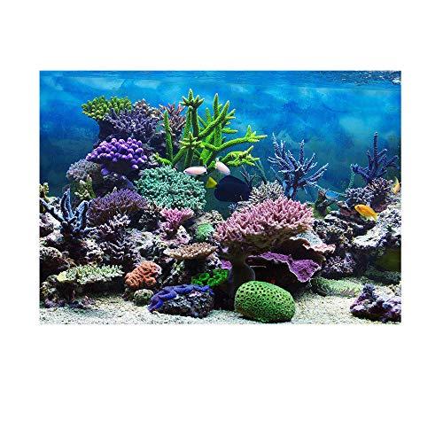 AZXAZ Aquarium Hintergrund Poster Klebstoff Aquarium Dekoration Hintergrund Papier Unterwasserkorallenriff Aufkleber Wie echtes Aquarium Dekor (122 * 50cm)