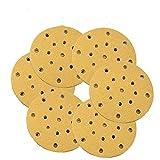 30pcs / set 6 Disco de lijado de 150 mm Almohadilla de grano seco mixto 17 agujeros 80-400 Gancho de grano y amp;Discos de lijado de alúmina de papel de lija redondos de bucle, como se muestra