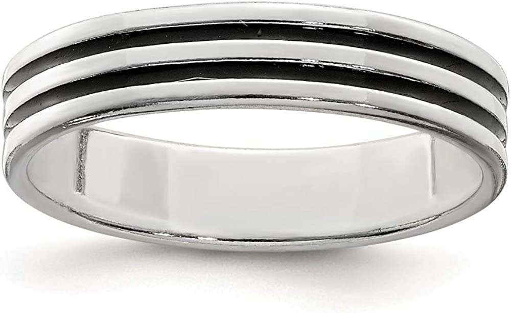 925 Sterling Silver Black Max 77% OFF Enamel Womens Max 55% OFF F Ring Jewelry Band Fine