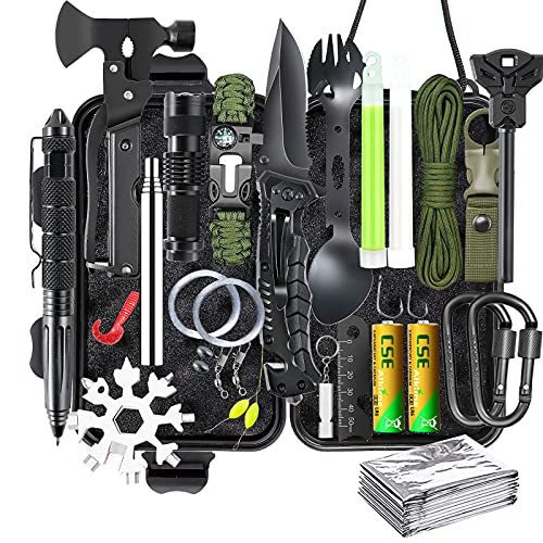 Gifts for Men Dad Husband Survival Kits, Survival Gear and Equipment 21 in 1, Professional Cool Gadgets Stuff Tactical Tool, Gift Ideas for Him Teenage Boy Emergency Hunting Outdoors Camping Hiking