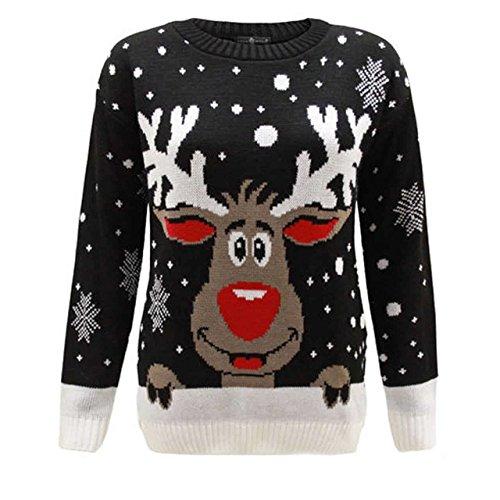Star Fashion - Pull Fantaisie Noël Femme tricoté Rudolph Le Renne (Noir Rudolph, S)