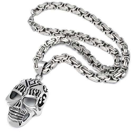 Schmuck-Checker XXL Totenkopf Anhänger mit Flammen Edelstahl Silber groß dick schwer massiv Schädel Skull Königskette Bikerschmuck Rockerschmuck