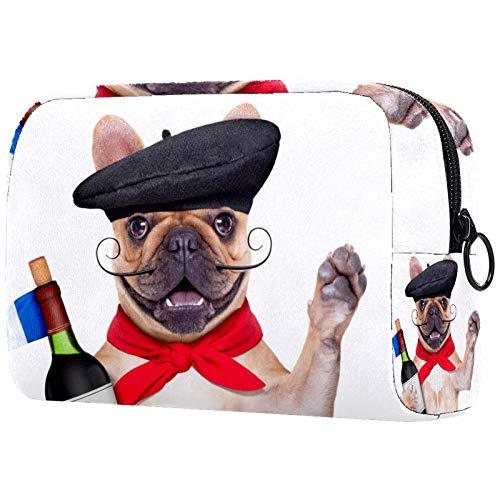 ATOMO Bolsa de maquillaje, bolsa de viaje para cosméticos, bolsa de aseo grande, organizador de maquillaje para mujeres, bulldog francés con sombrero de boina de vino tinto