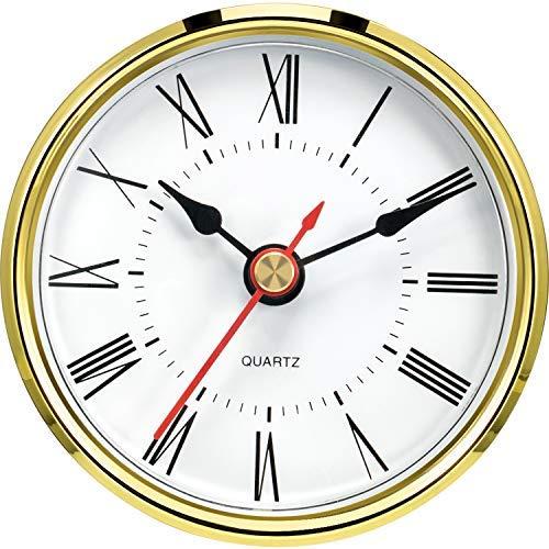 Hicarer 2.8 Inch/ 70 mm Round Quartz Clock Insert, Clock Movement Insert, Gold Trim, Red Second Hand, Roman Numeral, Quartz Movement