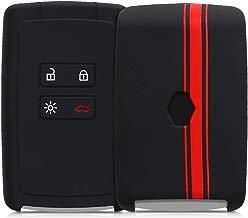 kwmobile Funda para Llave Smart Key de 4 Botones para Coche Renault (Solamente Keyless Go) - Carcasa Protectora Suave de Silicona - Case de Mando de Auto con diseño de Rally