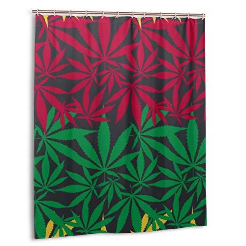 Codruy Duschvorhang, Hanf Cannabisblatt Buntes nahtloses Vektormuster Badvorhang Set mit Haken 60 x 72 Zoll