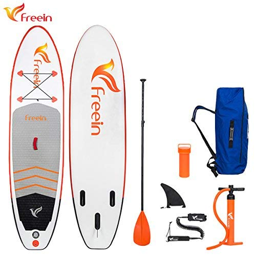 "Freein 10'2'' All Round ISUP Inflatable Stand Up Paddle Board 31"" Wide 6"" Thick SUP Complete Package Includes Adjustable Paddle,Travel Backpack,Coil Leash,Dual Action Pump"