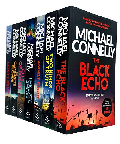 Michael Connelly Collection 7 Books Set (City Of Bones, The Concrete Blonde, Lost Light, The Black Echo, Two Kinds of Truth, Angels Flight, The Late Show)