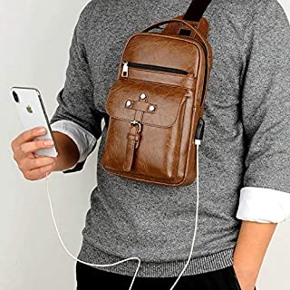 Backpack Universal Fashion Casual Outdoor Men Shoulder Messenger Bags Retro Men Waist Bag with Charging Port, Size: S (26cm x 17cm x 5.5cm)(Black) (Color : Khaki)