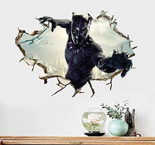 LCFF Wandtattoo 3D Wandaufkleber Wandbilder Black Panther Superheld Dekorative Malerei Abziehbilder Tapete Film-Plakat Removable Self Adhesive Kind-Raum-Wand-Dekor 50x70cm