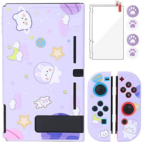 Aosai Funda para Nintendo Switch, funda protectora para Nintendo Switch y Joy Con, con 4 empuñaduras para pulgar y 2 protectores de pantalla de cristal (conejo espacial), color morado