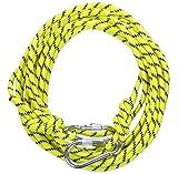 高強度ロープ 太さ: 8mm 長さ: 10m 収納袋セット アウトドア キャンプ 登山補助ロープ (黄 8mm x 10m フック有り)