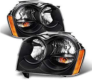 For Jeep Grand Cherokee Replacement Headlights Driver/Passenger Black Head Lamps Pair New