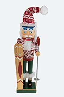 "Clever Creations Traditional Wooden Santa Skier Christmas Nutcracker Collectible Mr. Claus in Ski Sweater | Festive Holiday Décor | Holding Skis and Poles | 100% Wood | 14"" Tall"
