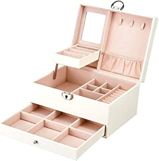 Jewelry Box for Women,Multilayer Large Capacity Jewelry Storage Box with Lock,Black and White,White