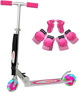 ChromeWheels Scooter for Kids, Deluxe 2 Wheel Kick Scooters 4 Adjustable Height with LED Light Up Wheels, for Age 5 up Girls Boys, 132lb Weight Limit
