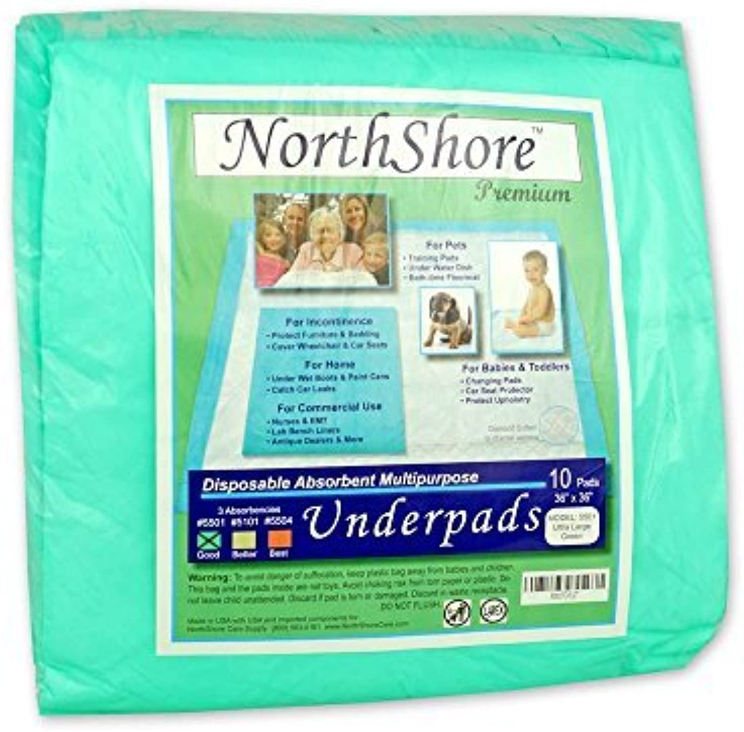 Northshore Premium, 36 x 36, 40 oz, Puppy Pads, Green, Ultra Large, Pack 10