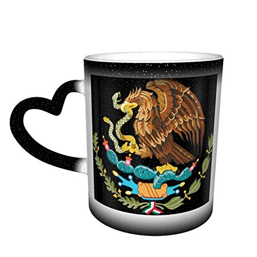 Taza que cambia de color del cielo estrellado del águila de la bandera de México fresca, tazas de café del hogar, tazas impresas regalos para los amigos de los amantes de la familia