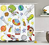 prz0vprz0v Outer Space Decor Shower Curtain, Space Objects with Sun Earth Comet Stars Meteor Lunar Extraterrestrial Cartoon, Fabric Bathroom Decor Set with Hooks, 72W x 79L inch Bath Curtains, Multi