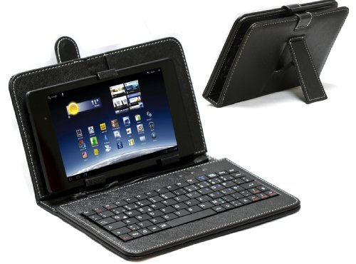 Navitech 10 Zoll bycast Leder Case/Cover mit deutschem Qwertz Keyboard mit Micro USB für das für Odys Wintab 10