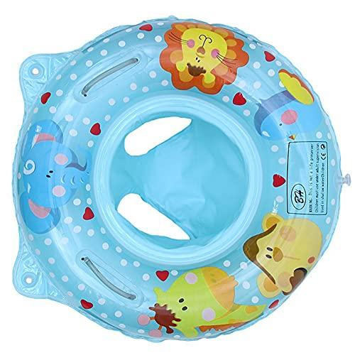 SXZSB Asiento De Flotador De Natación Bebé, Linda Historieta Inflable Anillo De Natación Asiento De Flotador con Dual Asa para Bebe Niño Bañera De La Piscina para Niños,Azul
