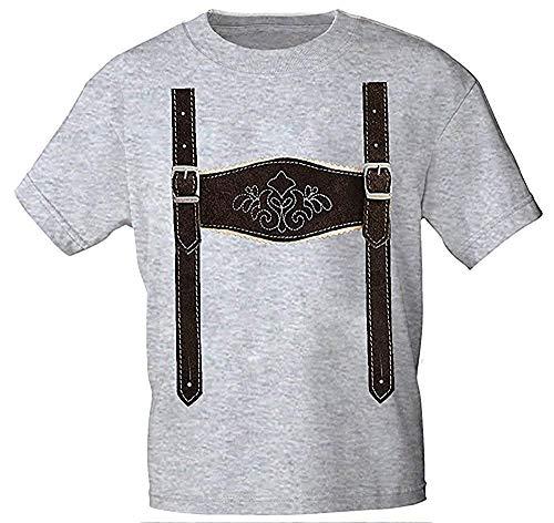 Kinder T-Shirt mit Print - Lederhose Hosenträger - 08632 weiß Gr. 68-164 Farbe grau, Größe 134/146