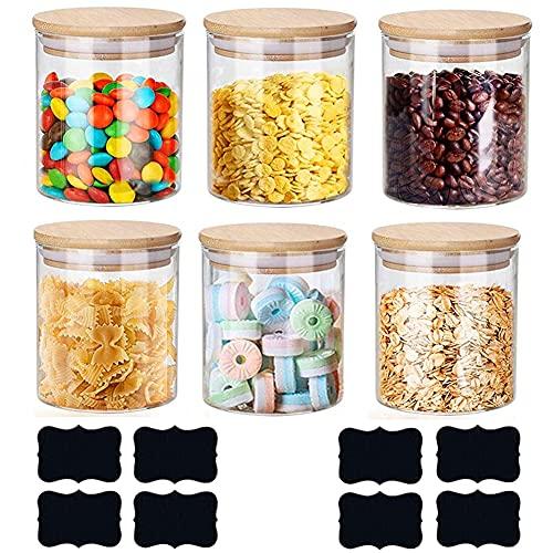 YunMei - Juego de 6 tarros de cristal con tapas de bambú, anillos de silicona para cocina, recipientes herméticos para almacenamiento, juego de latas para mermelada, pasta espaguetis, té, café