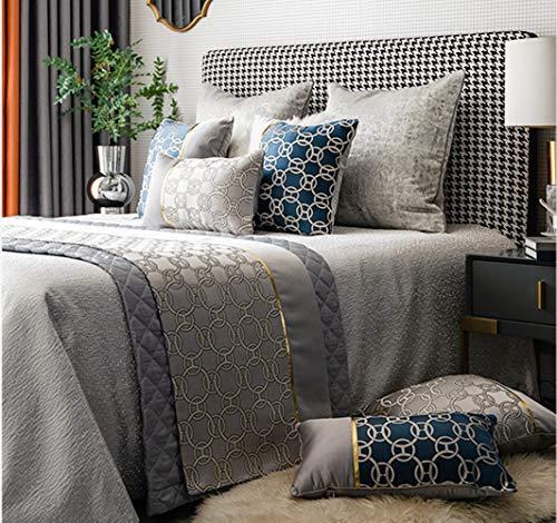 SB Home Bettläufer Modern Luxus Glatt Bett Überwurf Bettdecken für Schlafzimmer Sofa Hotelzimmer 50X240CM Grau mit 2er Set Kissenbezug 50X50CM