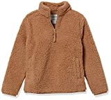 Amazon Essentials Girls' Sherpa Fleece Quarter-Zip Jackets, Tan, Small