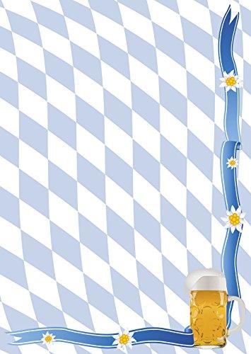 Papel de carta diseño de rombos del escudo de Baviera y cerveza DIN A4, 90g/m² 50 Blatt