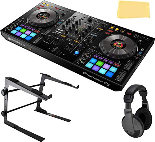 Pioneer DDJ-800 2-Channel Portable DJ Controller for Rekordbox DJ Bundle with Gearlux Laptop Stand, Headphones, and Austin Bazaar Polishing Cloth