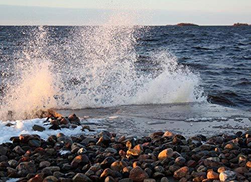 Pintura de diamante de taladro redondo completo 5D DIY, olas del mar entre las rocas, hermosas pegatinas sin marco de 40x50 cm