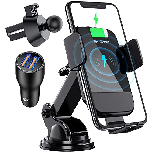 Wireless Car Charger, CTYBB Qi Auto-Clamping Air Vent Dashboard Car Phone Holder & QC3.0 Car Charger, 10W Compatible for Galaxy S20/S10+,Charging for iPhone 12/12 Pro/11/11 Pro/11 Pro Max/XSMax/X/8P/8