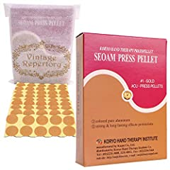 Adhesive press pellets for Koryo hand and body techniques Strong & long-lasting effects protrusions Non-invasive therapy ; Gold-plated pure aluminum press Acupressure surface measures 5 mm diameter with 1 point, Adhesive sticker measures 12 mm diamet...