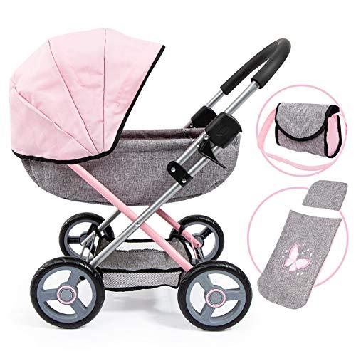 Bayer Design 12733AA Puppenwagen Cosy, zusammenklappbar, inklusive Tasche und Bettdecke, modern, Jeans-grau, rosa mit Schmetterling