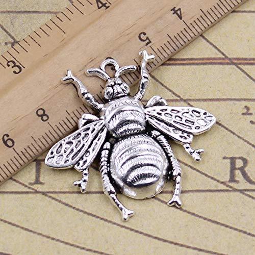 WANM 6Pcs Charms Honey Honeybee 40X38Mm Tibetan Bronze Silver Color Pendants Antique Jewelry Making Diy Handmade Bracelet