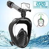 Elegear Tauchmaske Schnorchelmaske Vollmaske Vollgesichtsmaske - Anti-Fog Anti-Leck Tauchmaske 180° Sichtfeld CO2 Sichere Schnorchelmaske und Kamerahaltung für Erwachsene Schwarz L/XL