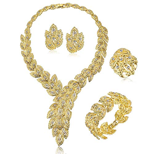 FUNOJOY FAUOI Womens Luxury Africa Dubai 18k Gold Plated Jewelry Sets Wedding Rhinestone Crystal Bib Statement Necklace Earrings Set for Brides Party Prom Crystal Bib Statement Necklace