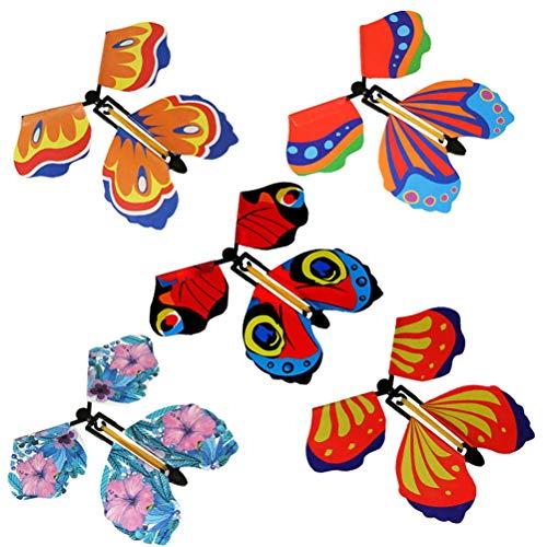 Miokycl 5 stuks magische vliegende vlinder, vlinder met elastiek, vlinderkaart, geschikt als verjaardagscadeau…