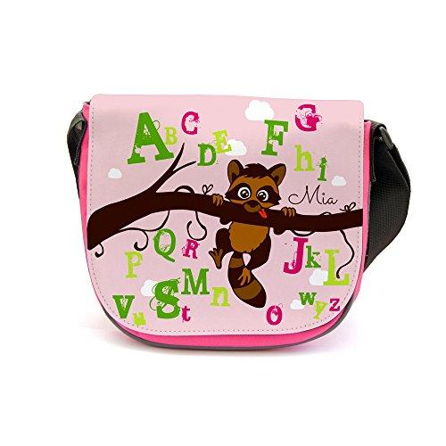 ilka parey wandtattoo-welt Kindergartentasche Kindertasche Tasche Waschbär auf Zweig ABC mit Wunschnamen kgt18