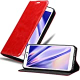 Cadorabo Hülle für WIKO Jerry 3 in Apfel ROT - Handyhülle mit Magnetverschluss, Standfunktion & Kartenfach - Hülle Cover Schutzhülle Etui Tasche Book Klapp Style