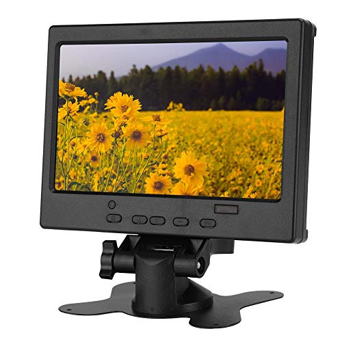 7inch Monitor Dispaly, 1920x1080 TFT LCD Screen Portable Computer Monitor/Small Gaming Monitor for Raspberry Pi, Car Display, CCTV with Stand Support HDMI VGA AV Video Inputs(100-240V)