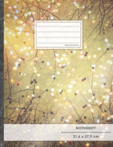 """Notenheft: DIN A4 • 48 Seiten, 24 Blatt, 12 Systeme, """"Herzen"""" • Original #GoodMemos Schulheft • Mit Inhaltsverzeichnis und Seitenzahlen, Noten-Lineatur 14"""