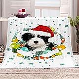 HWHMJJ Throw Blanket Christmas Pet Dog Flannel Fleece Bed Blanket Super Soft Blanket 59 x 78.7 Inch