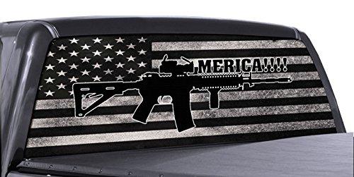 FGD Brand AR 15 Merica Truck Rear Window Wrap Black & White Distressed American...