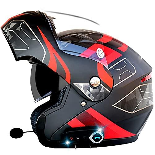 NAINAIWANG Motorcycle Bluetooth Integrated Helmet Flip Up Modular Bluetooth Motorcycle Helmet Dual Visor Voice Dial Hands-Free Call Intercom MP3 FM DOT/ECE Approved Motorcycle Helmet