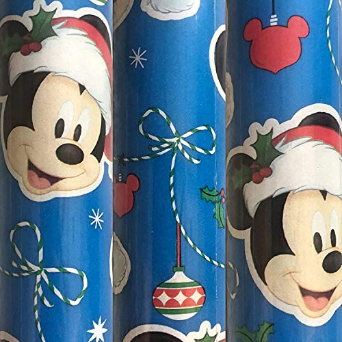 Christmas Wrapping Paper JGT Disney Mickey Mouse Holiday Theme Gift Wrapping Paper Merry Christmas Happy Hanukkah Happy Holidays Gift Wrap - Blue - 70 SQ FT - (1) ROLL
