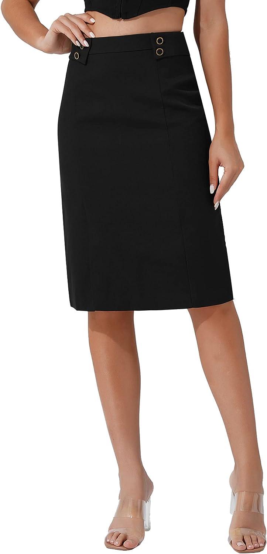 renvena Womens High Waist Slit Bodycon Knee Length Hip-Wrapped Midi Pencil Skirt for Office Work Wear