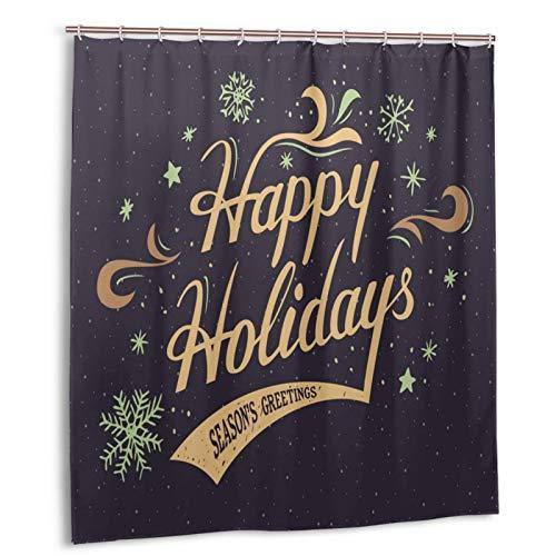 Starodec Cortina de Ducha Impermeable Felices Fiestas Feliz Navidad y Feliz Hanukkah Cortinas baño con Ganchos Lavable a Máquina 72x72 Inch