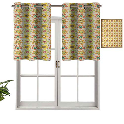 Small Kitchen Window Curtains Valances Flowers of Many Colors on Heart and Dot Filled Background Summer Illustration, Set of 1, 52'x18' for Kitchen Window Bathroom and Cafe